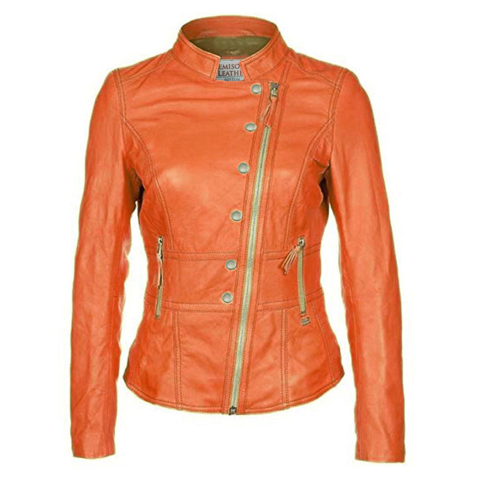 Jemison Leather Buckle Style Orange Jacket