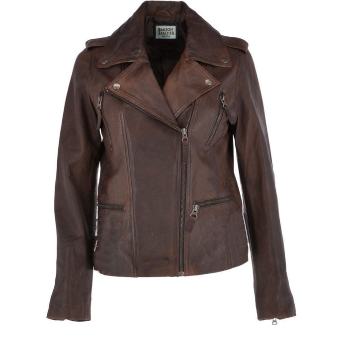 Jemison Leather Brown Women's Moto Jacket