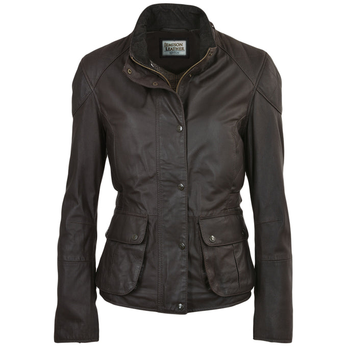 Jemison Leather Chocolate Dark Brown Women's Jacket