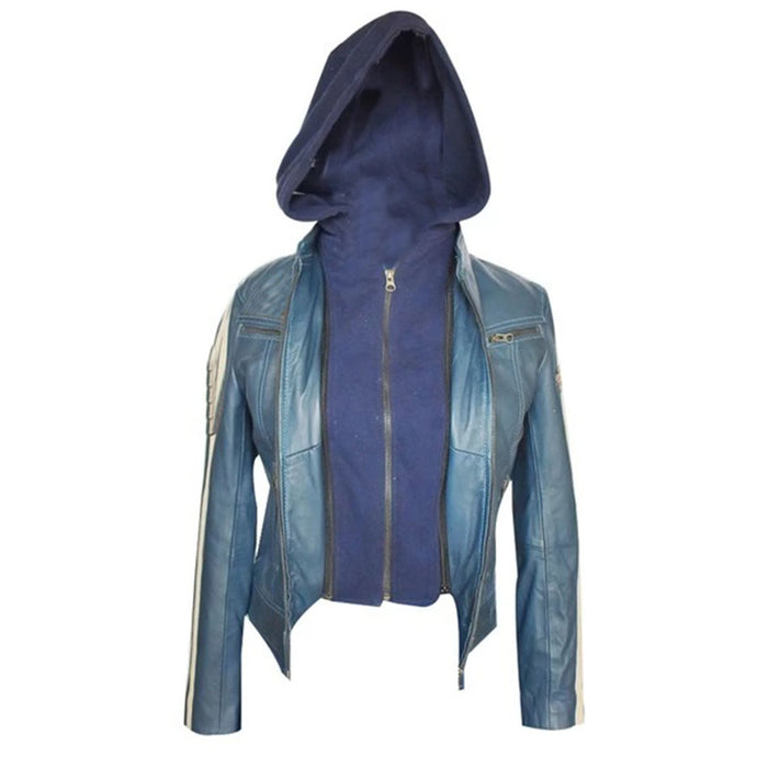 Jemison Leather Women's Geniune Blue Hooded Jacket