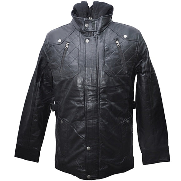 Jemison Leather Jumble Style Hooded Bomber Jacket