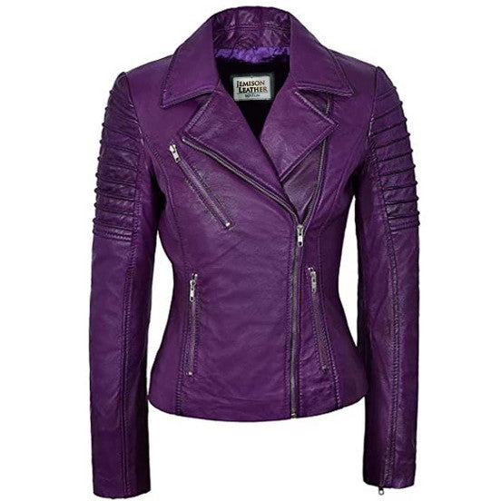 Jemison Leather Stylish Women Cross Biker Jacket