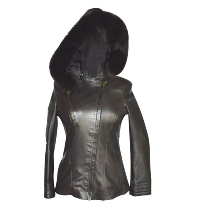 Jemison Leather Women's Geniune Black Hooded Jacket