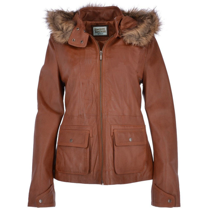 Jemison Leather Women's  Hooded  Brown Jacket