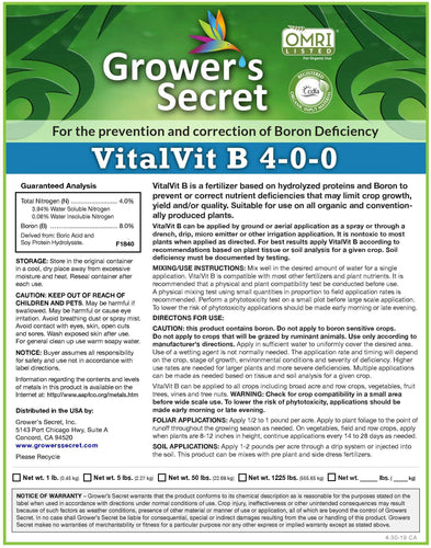 Growers Secret Grower's Secret VitalVit B 4-0-0 Boron