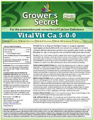 Growers Secret Grower's Secret VitalVit Ca 5-0-0  Calcium