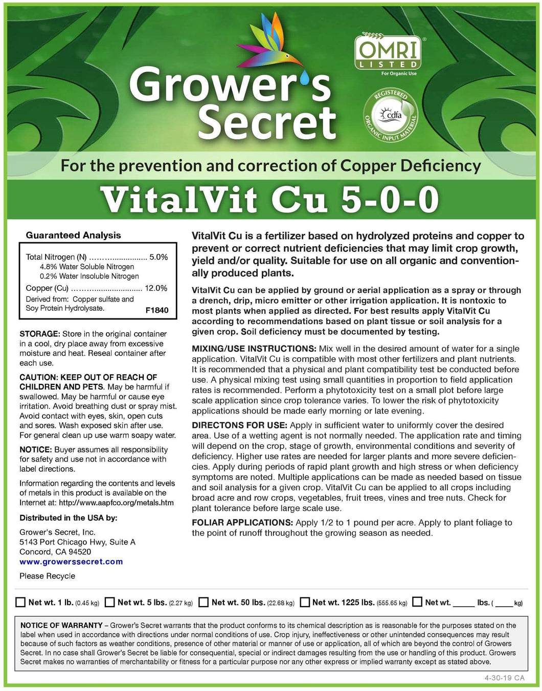 Growers Secret Grower's Secret VitalVit Cu 5-0-0 Copper