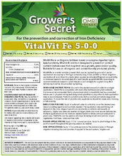 Load image into Gallery viewer, Growers Secret Grower's Secret VitalVit Fe 5-0-0 Iron