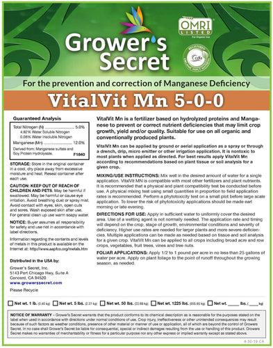 Growers Secret Grower's Secret VitalVit Mn 5-0-0 Manganese