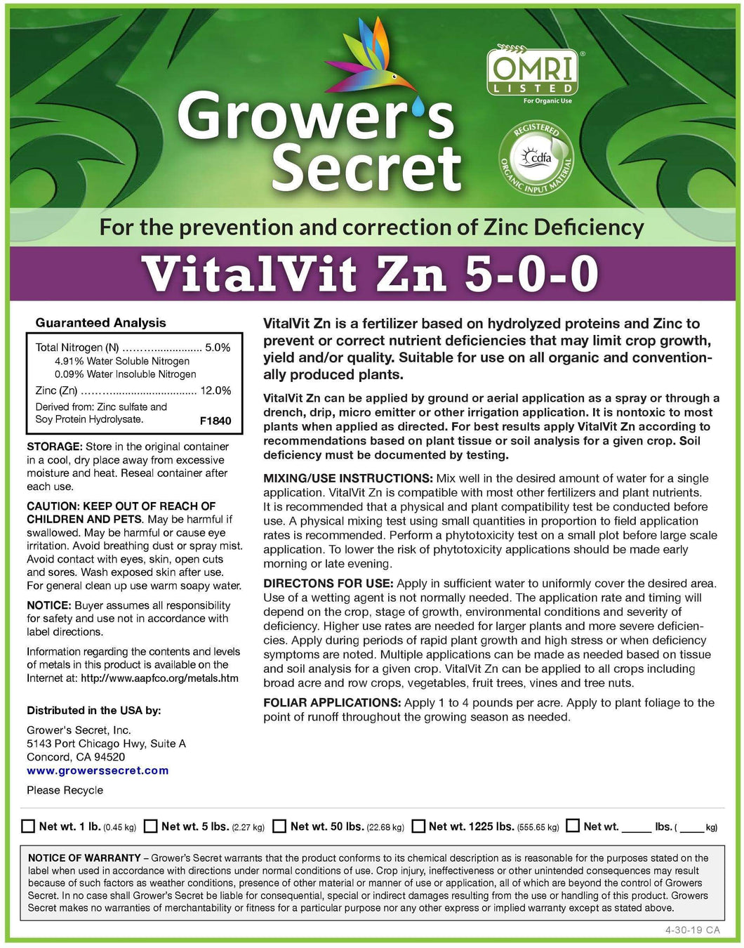 Growers Secret Grower's Secret VitalVit Zn 5-0-0 Zinc
