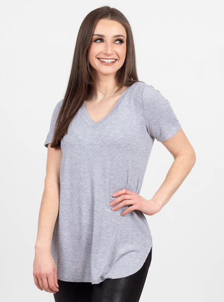 Consider This Grey Ribbed Top