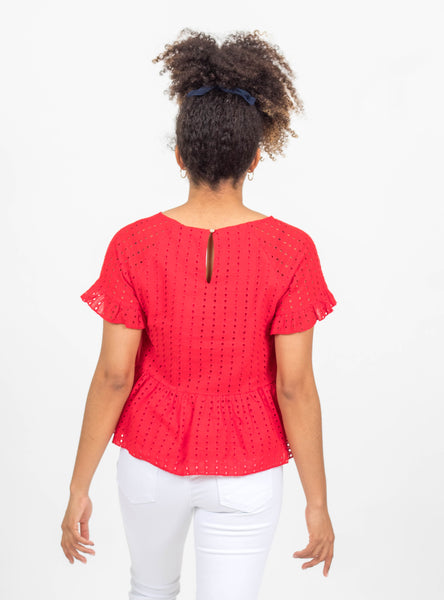 Pleasant Surprise Red Eyelet Top