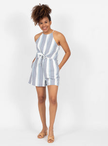 Dropping Hints Navy Striped Romper