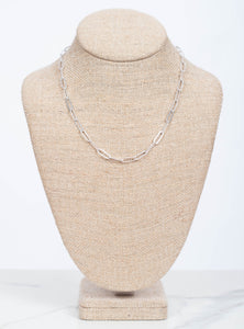 "Elodie Chain Layer Necklace 18""-Silver"