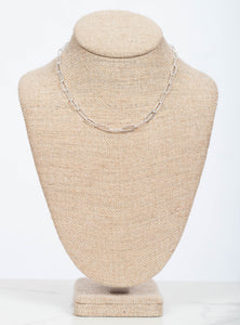 "Elodie Chain Layer Necklace 16"" Silver"