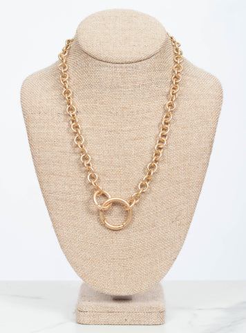 Zoe Spring Ring Chain Necklace-Gold