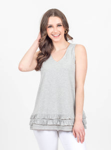 Better Together Grey Ruffle Tank