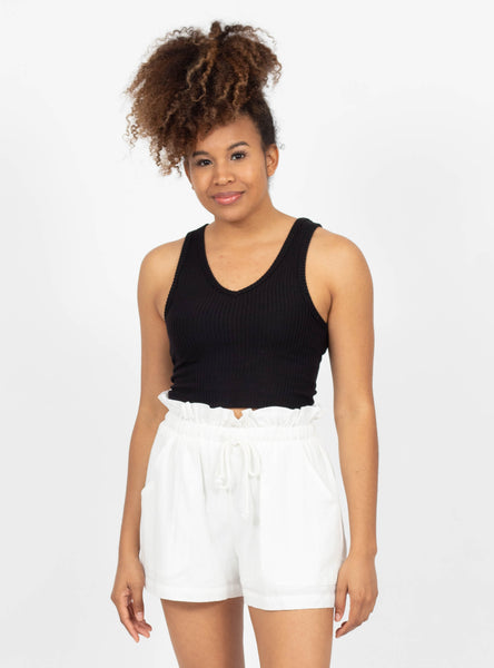 More Inclined Black Cropped Tank