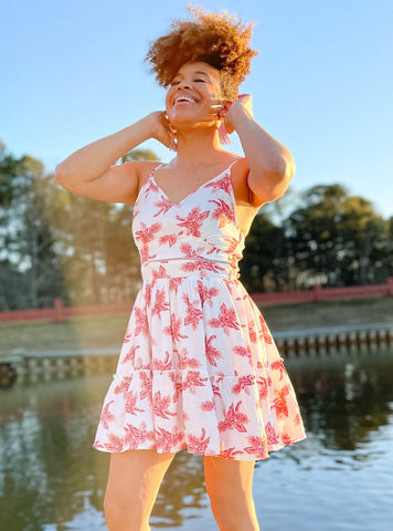 Coastal Getaway Salmon Printed Dress
