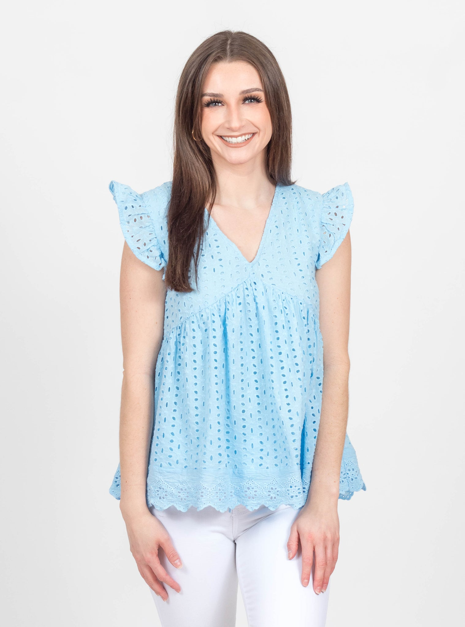 Carolina Light Blue Eyelet Top