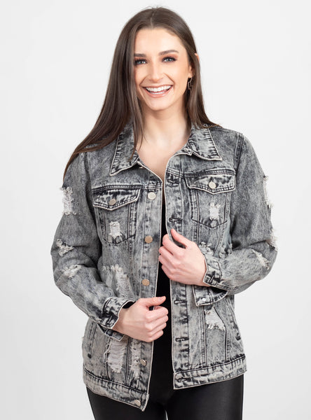 Don't Stress Charcoal Denim Jacket