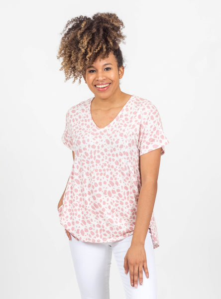Come Closer Rose Spotted Top