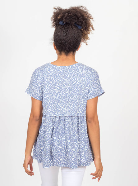 Bubbly Persona Blue Spotted Top