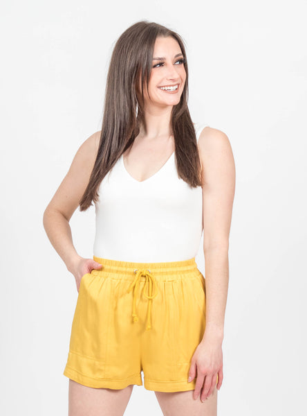 Save The Date Mustard Shorts