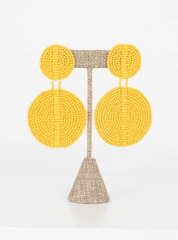 Kingston Seed Bead Double Disc Earrings-Yellow