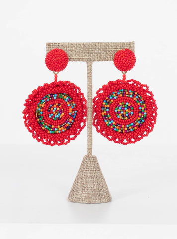 Edisto Red Multi-Bead Earrings