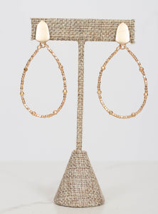 Bead Teardrop Earrings-All Gold