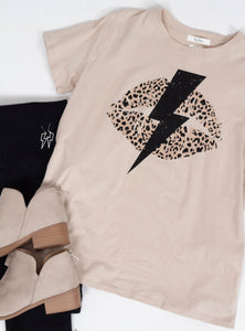 Leopard Lips & Bolt Graphic Tee