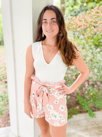 Feeling Free Blush Floral Shorts