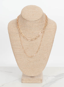 Kristin Double Chain Necklace-Gold