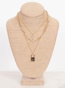 Mikah Lock, Key and Chain Necklace