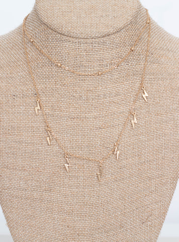 Ally Bolt Layer Necklace-Gold