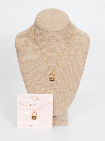 Ellison & Young Initial Lock Necklace-Gold