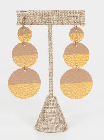 Nashville Gold Dipped Leather Earrings-Tan