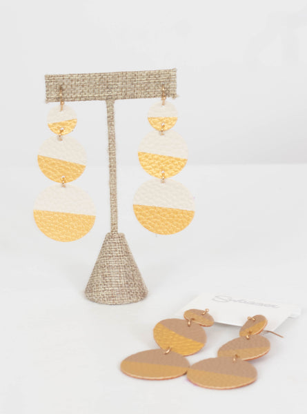 Nashville Gold Dipped Leather Earrings-Cream