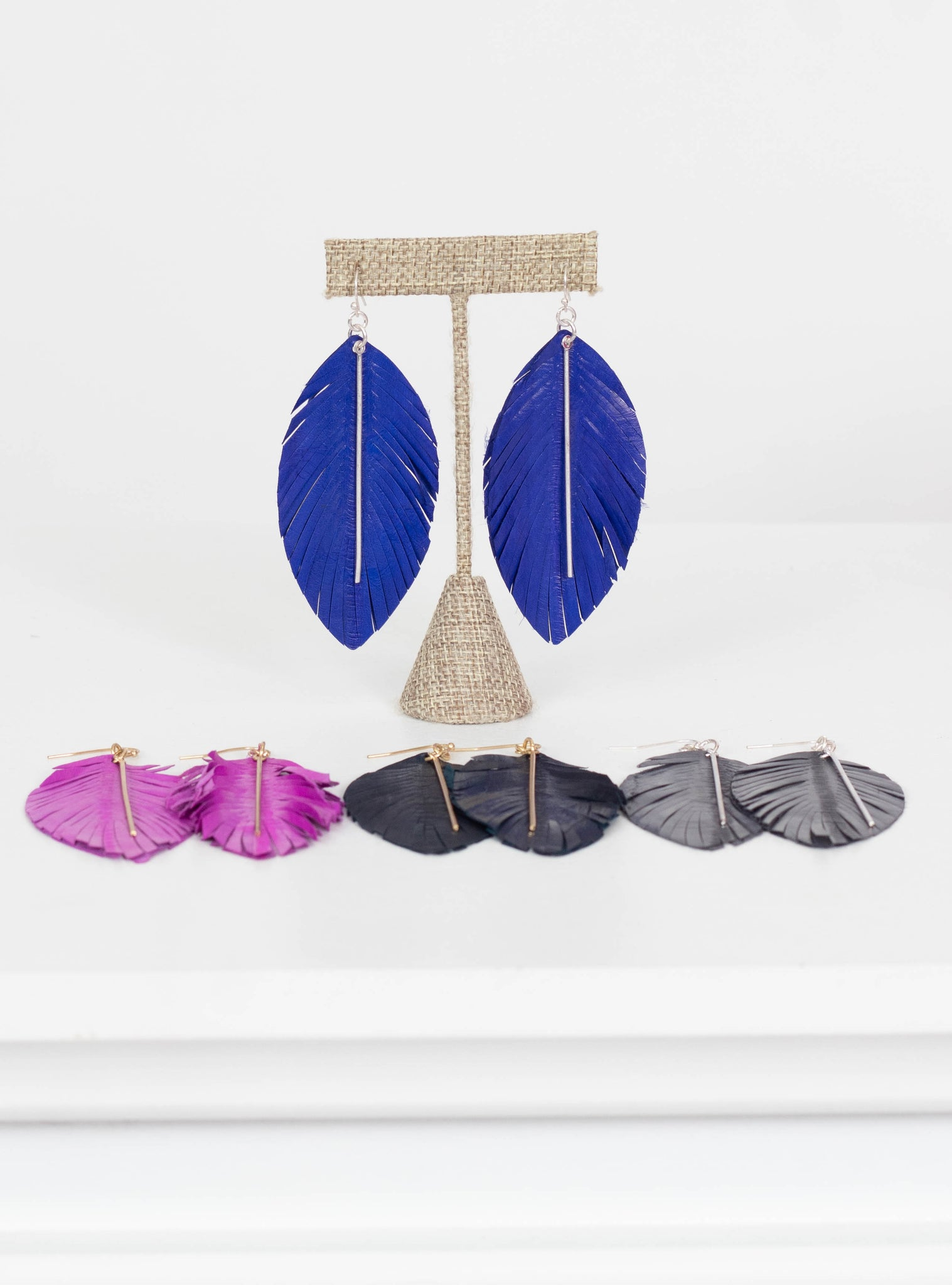 Miami Leather Bar Feather Earrings-Cobalt