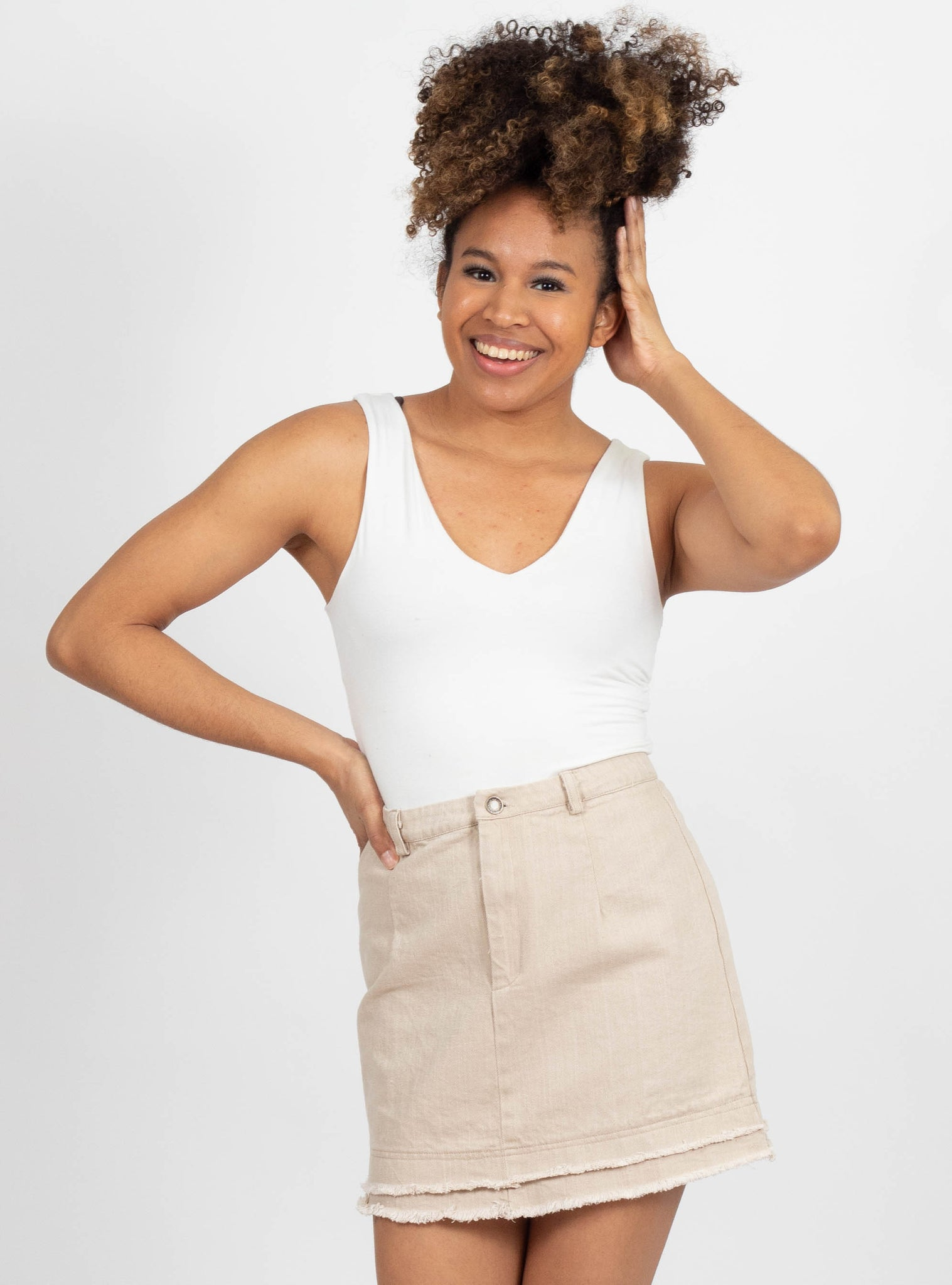Echo Beige Denim Skirt