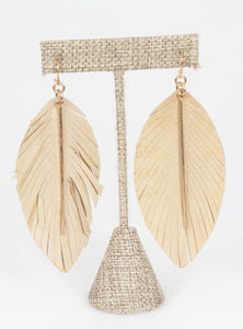 Miami Leather Bar Feather Earrings-Gold