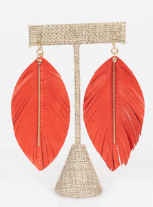 Miami Leather Bar Feather Earrings-Blood Red