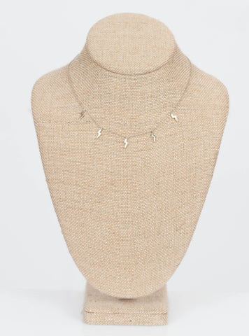 Christina Multi Bolt Necklace-Silver