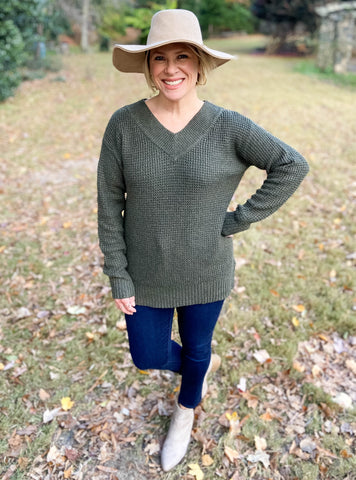 Settling Down Olive Sweater