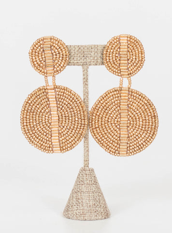 Kingston Seed Bead Double Disc Earrings-Gold