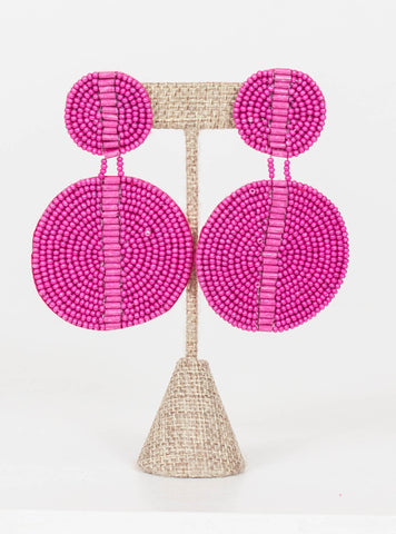 Kingston Seed Bead Double Disc Earrings-Pink