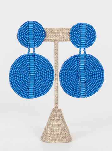 Kingston Seed Bead Double Disc Earrings-Blue