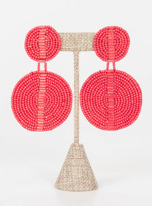 Kingston Seed Bead Double Disc Earrings-Red