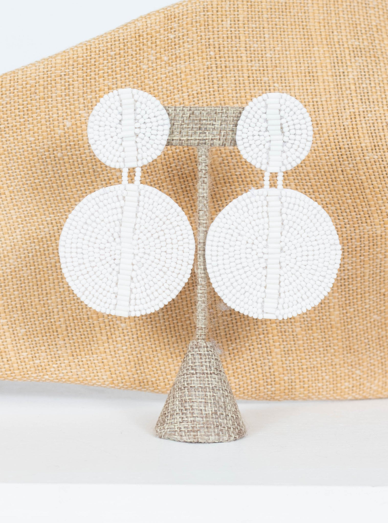 Kingston Seed Bead Double Disc Earrings-White